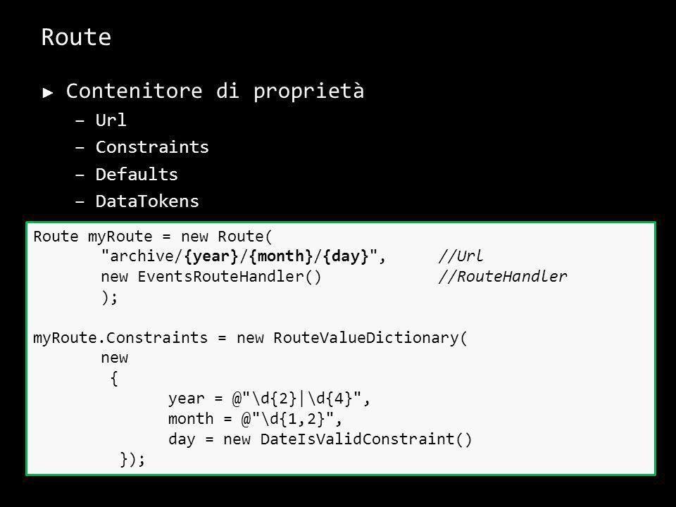 Route Contenitore di proprietà –Url –Constraints –Defaults –DataTokens –...