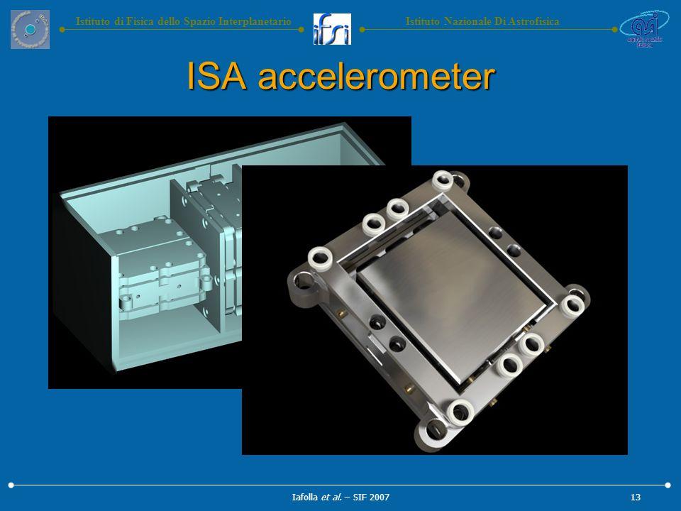 Istituto Nazionale Di AstrofisicaIstituto di Fisica dello Spazio Interplanetario ISA accelerometer Iafolla et al.