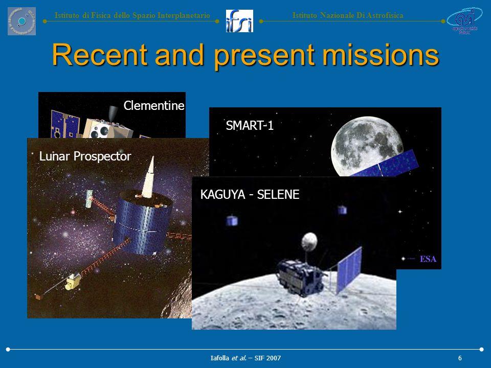 Istituto Nazionale Di AstrofisicaIstituto di Fisica dello Spazio Interplanetario Clementine Lunar Prospector Recent and present missions Iafolla et al.