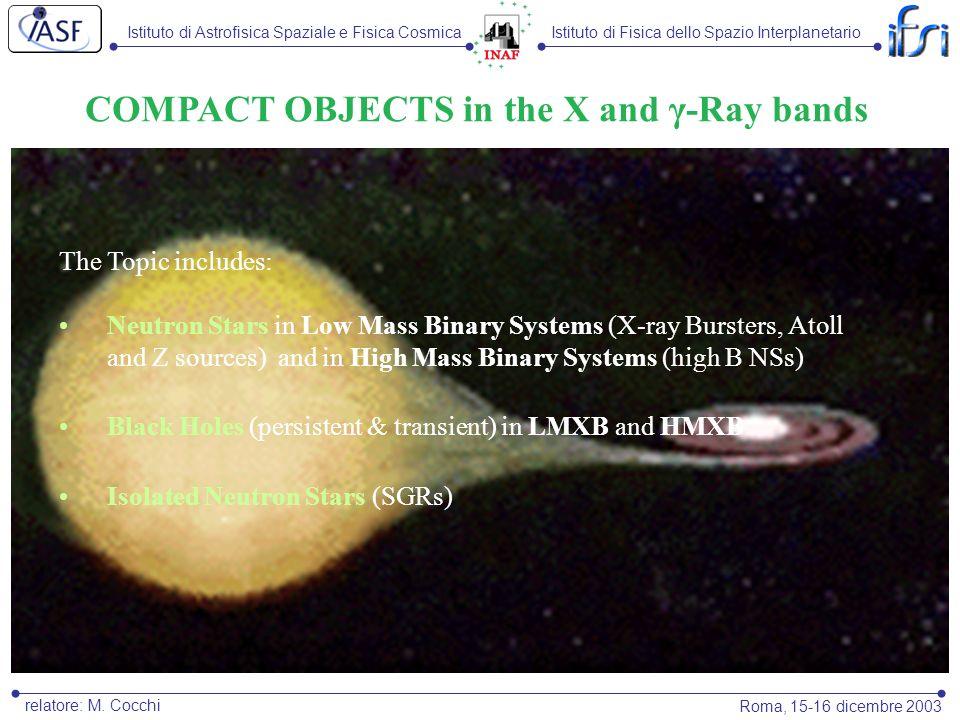 Istituto di Astrofisica Spaziale e Fisica CosmicaIstituto di Fisica dello Spazio Interplanetario Roma, 15-16 dicembre 2003 relatore: M. Cocchi COMPACT