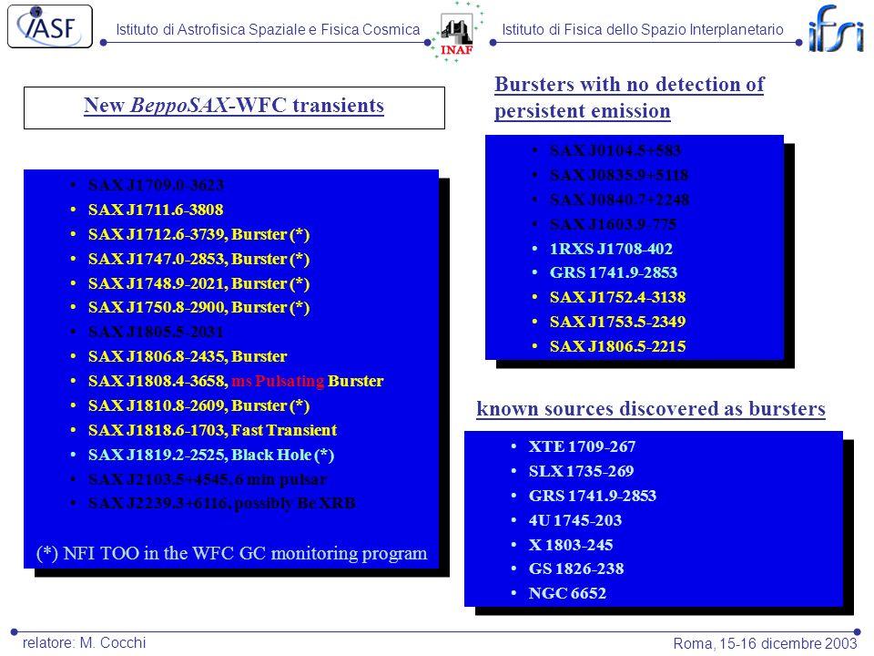 Istituto di Astrofisica Spaziale e Fisica CosmicaIstituto di Fisica dello Spazio Interplanetario Roma, 15-16 dicembre 2003 relatore: M.