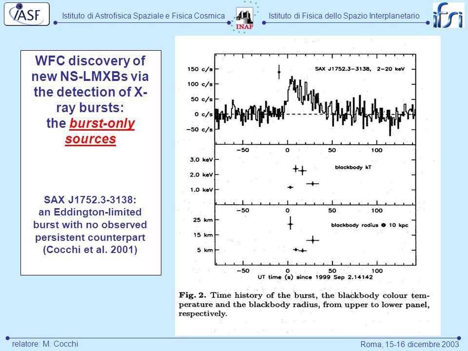 Istituto di Astrofisica Spaziale e Fisica CosmicaIstituto di Fisica dello Spazio Interplanetario Roma, 15-16 dicembre 2003 relatore: M. Cocchi WFC dis