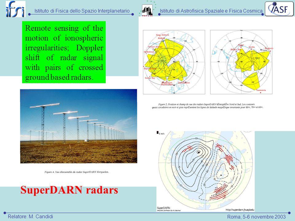 Istituto di Astrofisica Spaziale e Fisica CosmicaIstituto di Fisica dello Spazio Interplanetario Roma, 5-6 novembre 2003 Relatore: M.