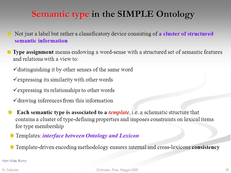 N. Calzolari39Dottorato, Pisa, Maggio 2009 Semantic type in the SIMPLE Ontology Not just a label but rather a classificatory device consisting of a cl