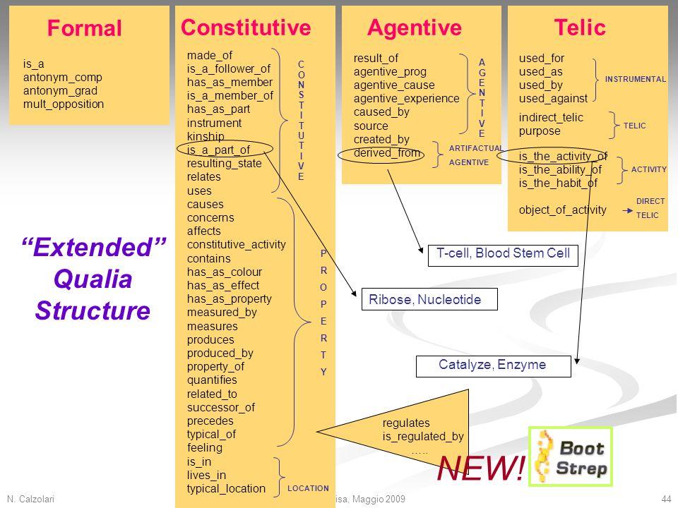N. Calzolari44Dottorato, Pisa, Maggio 2009 is_a antonym_comp antonym_grad mult_opposition result_of agentive_prog agentive_cause agentive_experience c