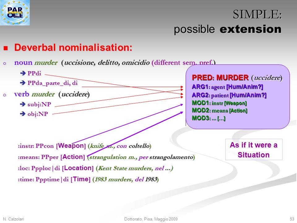 N. Calzolari53Dottorato, Pisa, Maggio 2009 Deverbal nominalisation: Deverbal nominalisation: o noun murder (uccisione, delitto, omicidio (different se