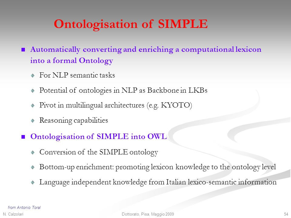 N. Calzolari54Dottorato, Pisa, Maggio 2009 Ontologisation of SIMPLE Automatically converting and enriching a computational lexicon into a formal Ontol