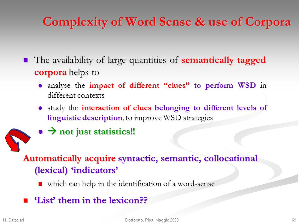 N. Calzolari69Dottorato, Pisa, Maggio 2009 Complexity of Word Sense & use of Corpora The availability of large quantities of semantically tagged corpo