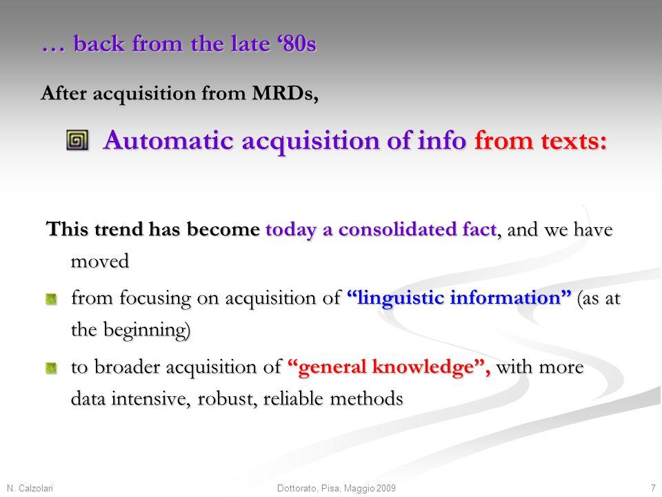 N. Calzolari7Dottorato, Pisa, Maggio 2009 Automatic acquisition of info from texts: Automatic acquisition of info from texts: This trend has become to