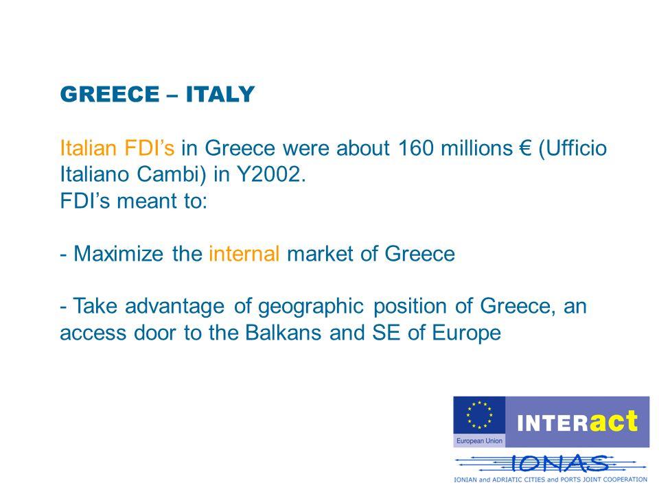 GREECE – ITALY Italian FDIs in Greece were about 160 millions (Ufficio Italiano Cambi) in Y2002. FDIs meant to: - Maximize the internal market of Gree