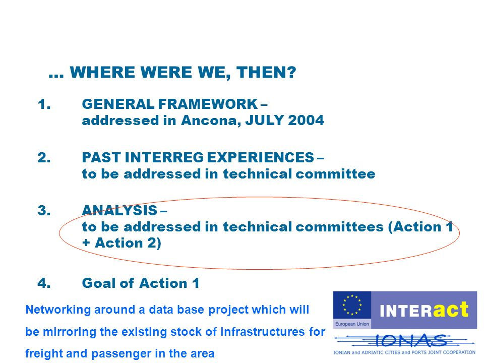1.GENERAL FRAMEWORK – addressed in Ancona, JULY 2004 3.ANALYSIS – to be addressed in technical committees (Action 1 + Action 2) 2.PAST INTERREG EXPERIENCES – to be addressed in technical committee 4.Goal of Action 1 … WHERE WERE WE, THEN.