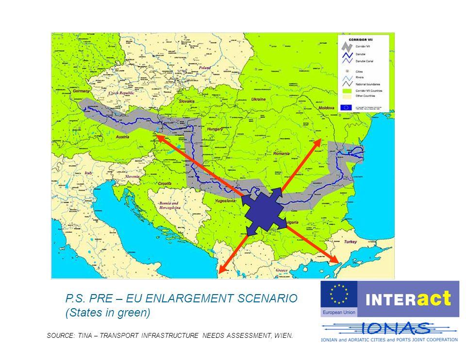 SOURCE: TINA – TRANSPORT INFRASTRUCTURE NEEDS ASSESSMENT, WIEN. P.S. PRE – EU ENLARGEMENT SCENARIO (States in green)