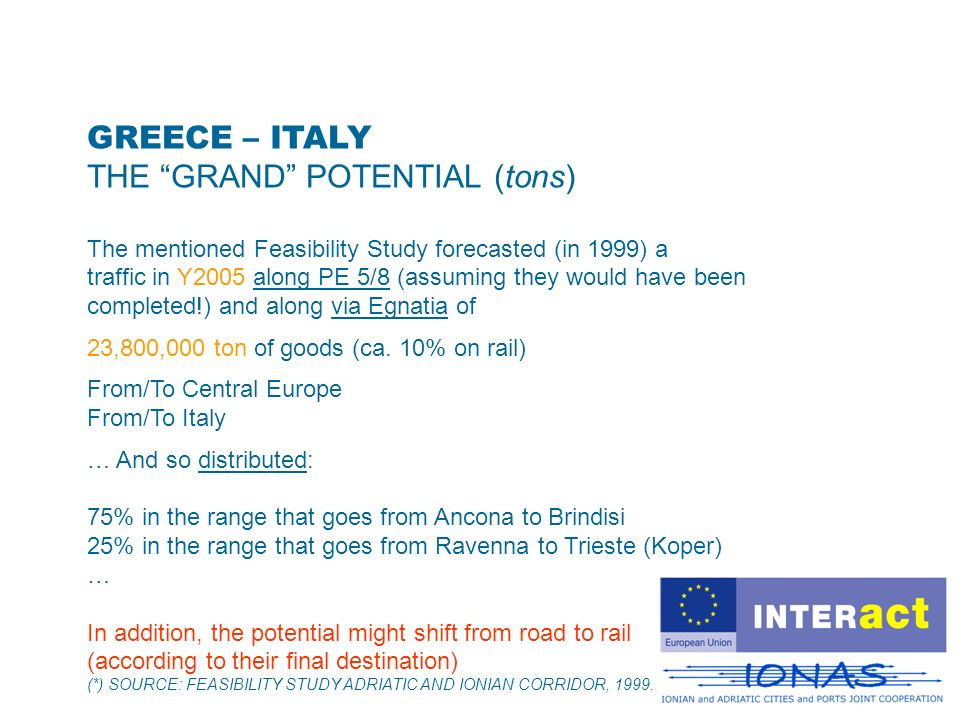 GREECE – ITALY THE GRAND POTENTIAL (tons) The mentioned Feasibility Study forecasted (in 1999) a traffic in Y2005 along PE 5/8 (assuming they would have been completed!) and along via Egnatia of 23,800,000 ton of goods (ca.