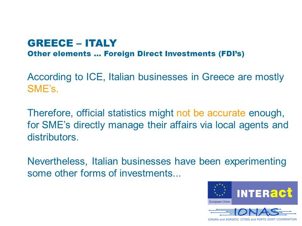 GREECE – ITALY Italian FDIs in Greece were about 160 millions (Ufficio Italiano Cambi) in Y2002.