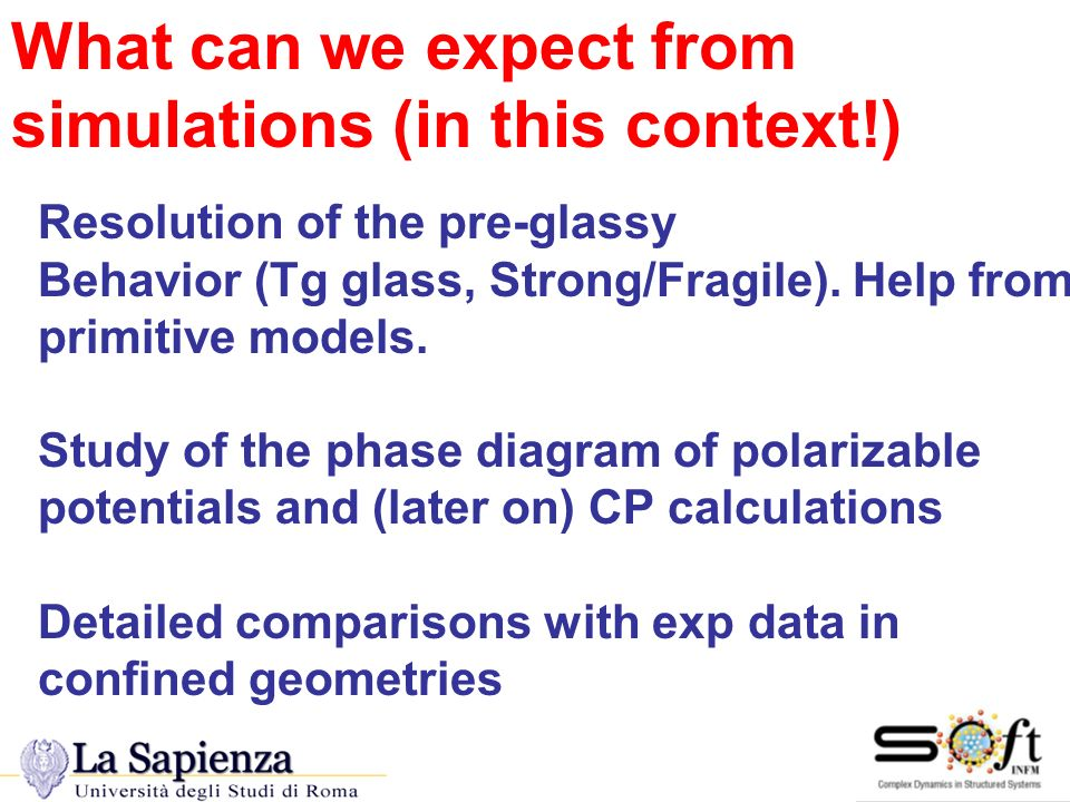 Conclusions Resolution of the pre-glassy Behavior (Tg glass, Strong/Fragile). Help from primitive models. Study of the phase diagram of polarizable po