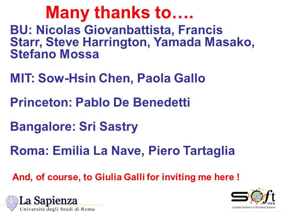 Many Thanks Many thanks to…. BU: Nicolas Giovanbattista, Francis Starr, Steve Harrington, Yamada Masako, Stefano Mossa MIT: Sow-Hsin Chen, Paola Gallo