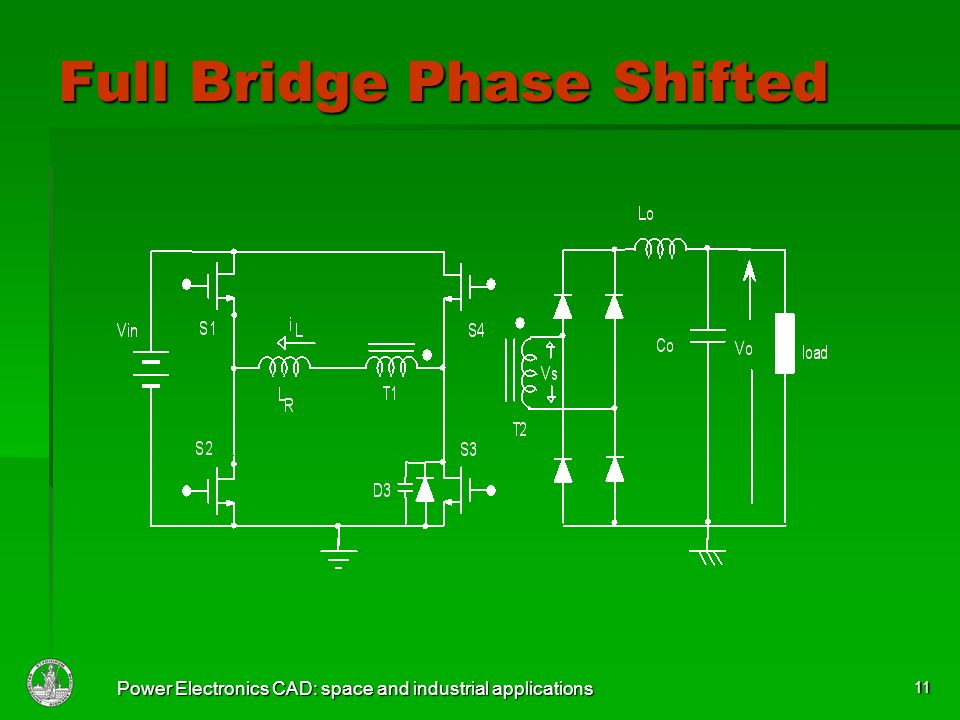 Power Electronics CAD: space and industrial applications 11 Full Bridge Phase Shifted