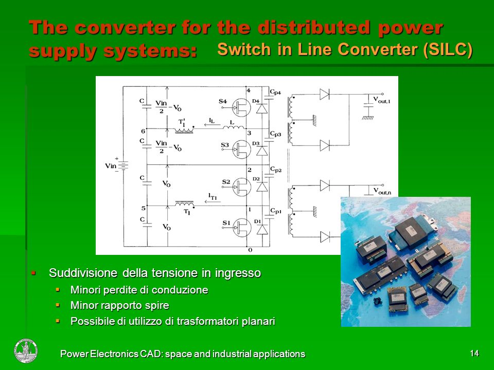 Power Electronics CAD: space and industrial applications 14 The converter for the distributed power supply systems: Suddivisione della tensione in ing