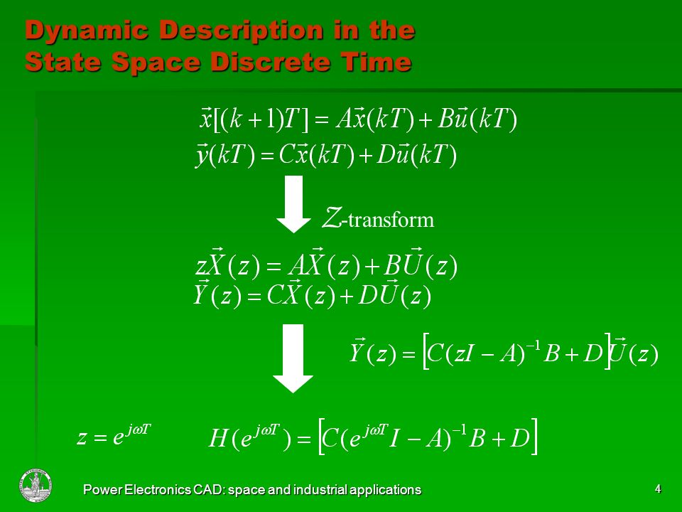 Power Electronics CAD: space and industrial applications 4 Dynamic Description in the State Space Discrete Time Z -transform