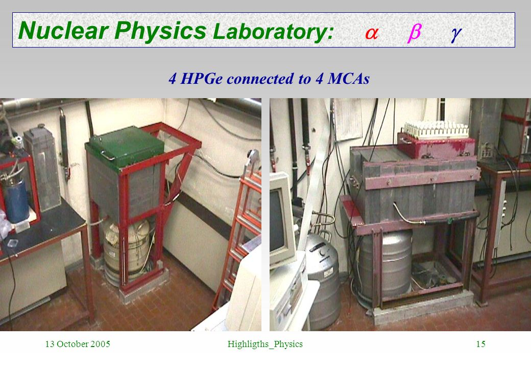 13 October 2005Highligths_Physics15 Nuclear Physics Laboratory: 4 HPGe connected to 4 MCAs
