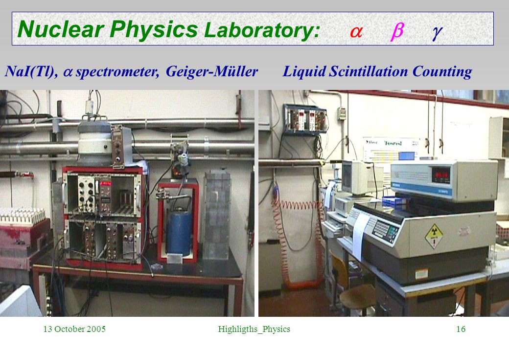 13 October 2005Highligths_Physics16 Nuclear Physics Laboratory: NaI(Tl), spectrometer, Geiger-Müller Liquid Scintillation Counting