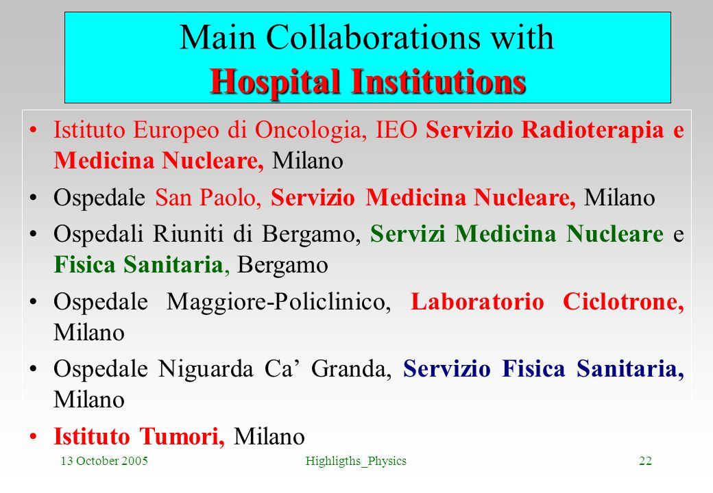 13 October 2005Highligths_Physics22 Hospital Institutions Main Collaborations with Hospital Institutions Istituto Europeo di Oncologia, IEO Servizio R