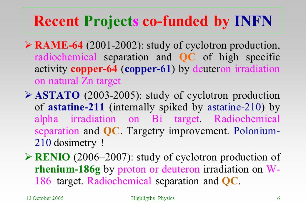 13 October 2005Highligths_Physics6 Recent Projects co-funded by INFN RAME-64 (2001-2002): study of cyclotron production, radiochemical separation and
