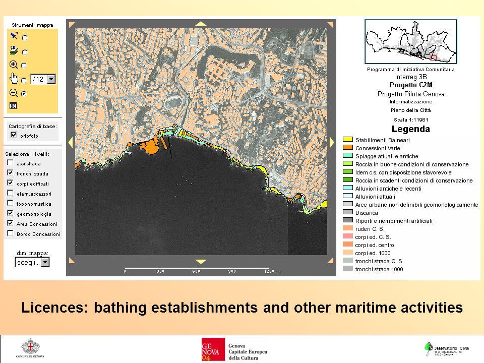 Osservatorio Civis Via di Mascherona, 19 16123 - Genova Licences: bathing establishments and other maritime activities