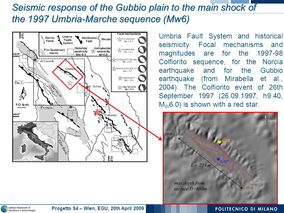 Progetto S4 – Wien, EGU, 20th April 2009 Umbria Fault System and historical seismicity.