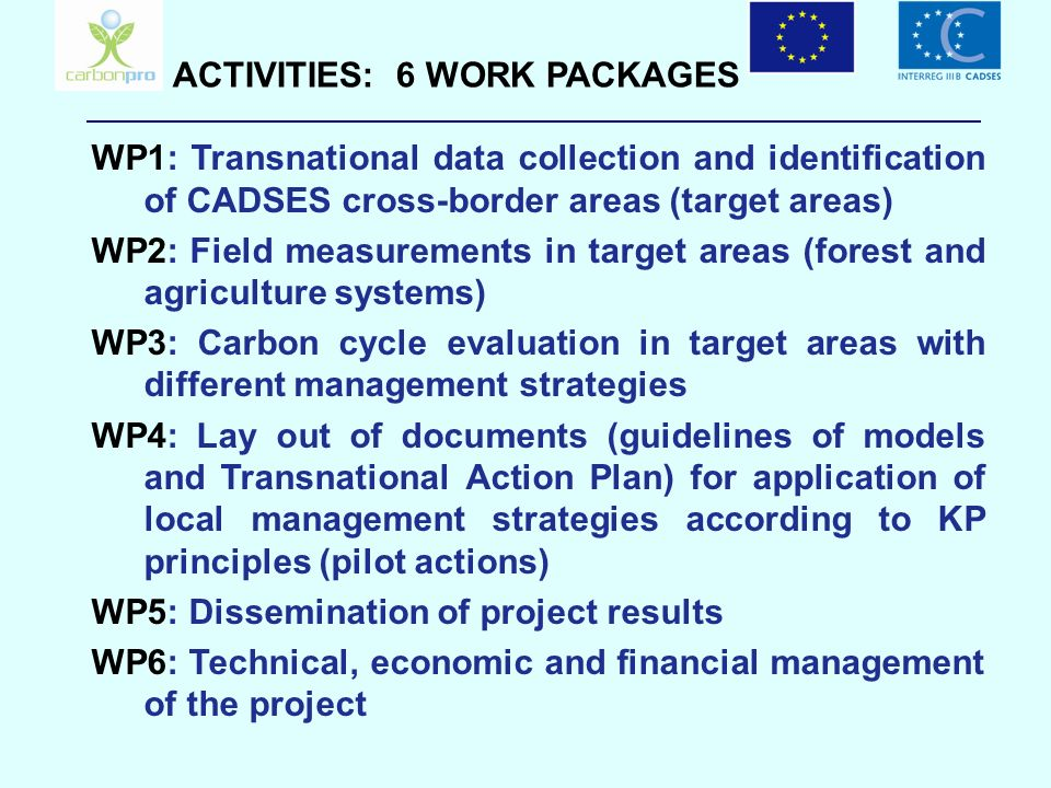 ACTIVITIES: 6 WORK PACKAGES WP1: Transnational data collection and identification of CADSES cross-border areas (target areas) WP2: Field measurements