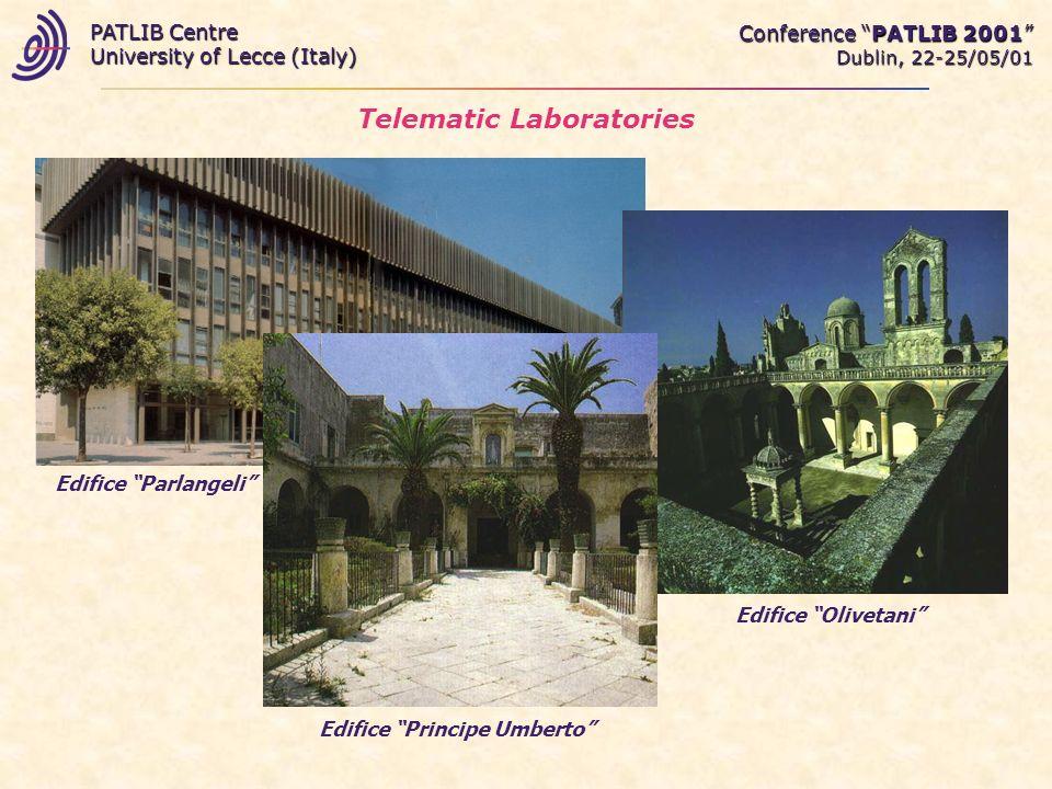 Telematic Laboratories Conference PATLIB 2001 Dublin, 22-25/05/01 PATLIB Centre University of Lecce (Italy) Edifice Parlangeli Edifice Olivetani Edifice Principe Umberto