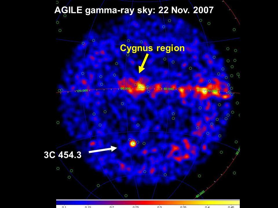 G.Barbiellini -- 11 3C 454.3 Cygnus region AGILE gamma-ray sky: 22 Nov. 2007