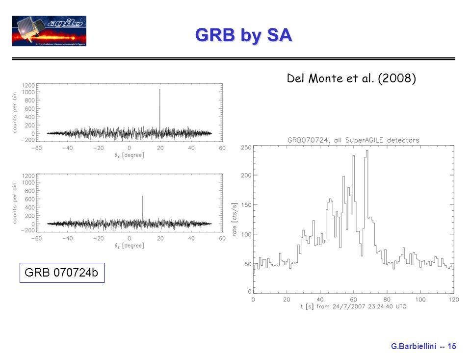G.Barbiellini -- 15 GRB by SA GRB 070724b Del Monte et al. (2008)