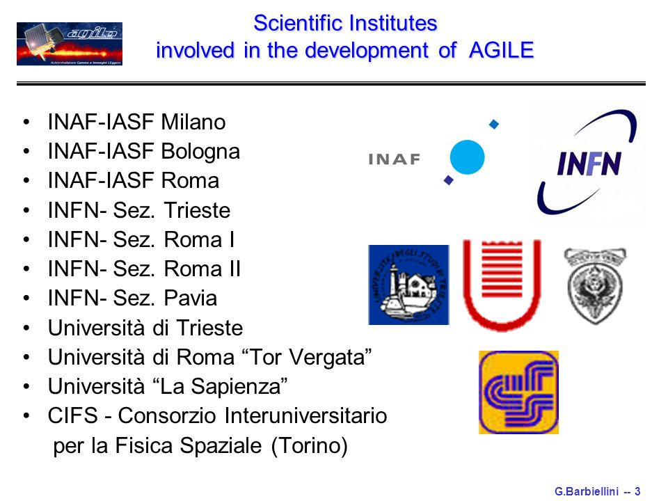 G.Barbiellini -- 3 Scientific Institutes involved in the development of AGILE INAF-IASF Milano INAF-IASF Bologna INAF-IASF Roma INFN- Sez.