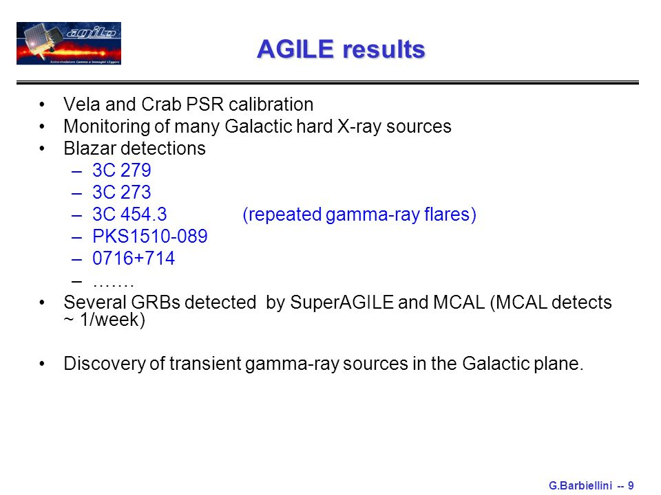 G.Barbiellini -- 9 Vela and Crab PSR calibration Monitoring of many Galactic hard X-ray sources Blazar detections –3C 279 –3C 273 –3C 454.3 (repeated