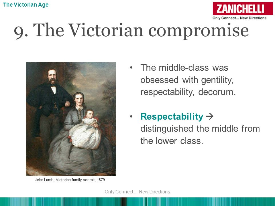 The middle-class was obsessed with gentility, respectability, decorum. Respectability distinguished the middle from the lower class. 9. The Victorian