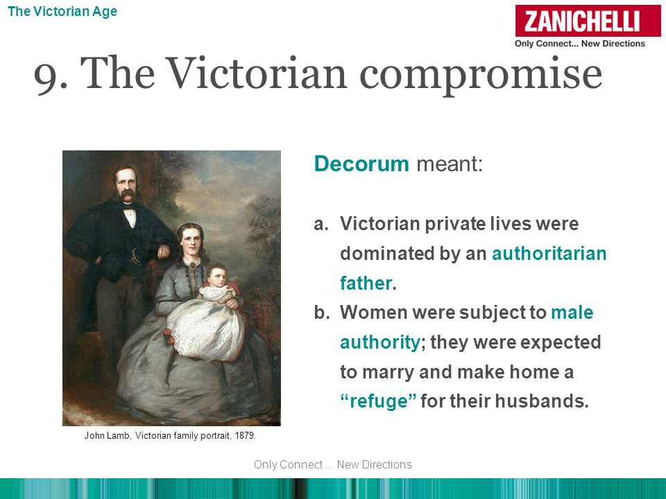 Decorum meant: a.Victorian private lives were dominated by an authoritarian father. b.Women were subject to male authority; they were expected to marr