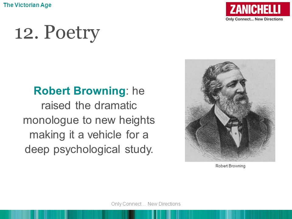 12. Poetry Robert Browning: he raised the dramatic monologue to new heights making it a vehicle for a deep psychological study. The Victorian Age Robe