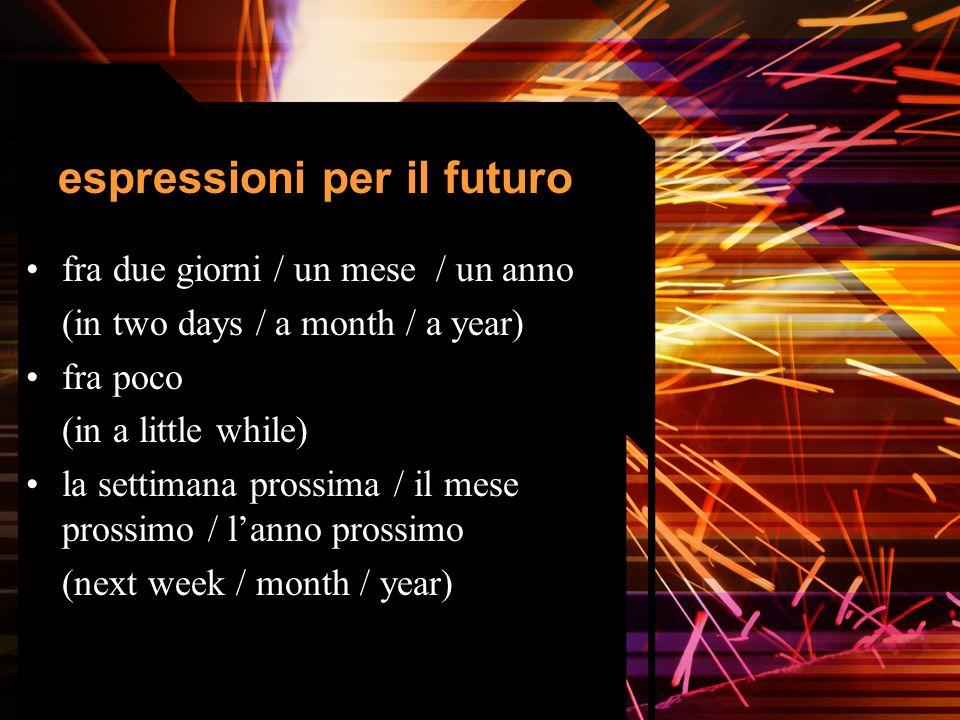 espressioni per il futuro fra due giorni / un mese / un anno (in two days / a month / a year) fra poco (in a little while) la settimana prossima / il mese prossimo / lanno prossimo (next week / month / year)