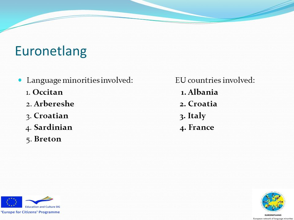 Euronetlang Language minorities involved: EU countries involved: 1.