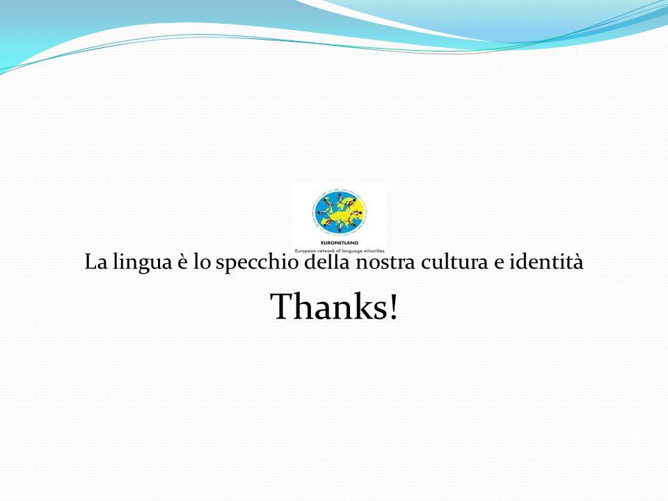 La lingua è lo specchio della nostra cultura e identità Thanks!