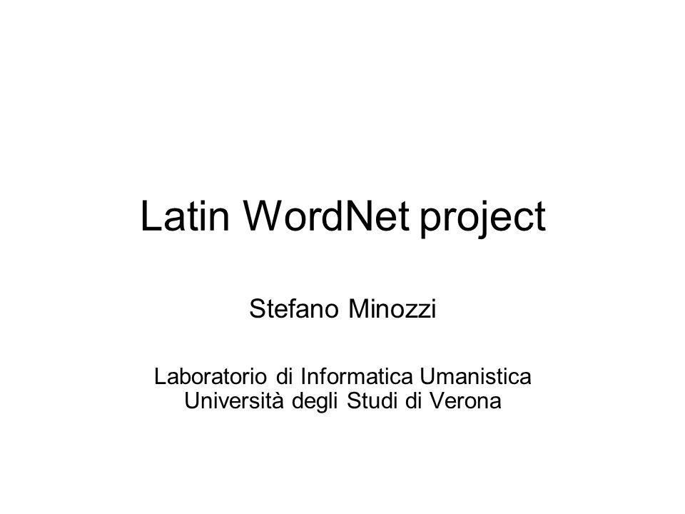 Latin WordNet project Stefano Minozzi Laboratorio di Informatica Umanistica Università degli Studi di Verona