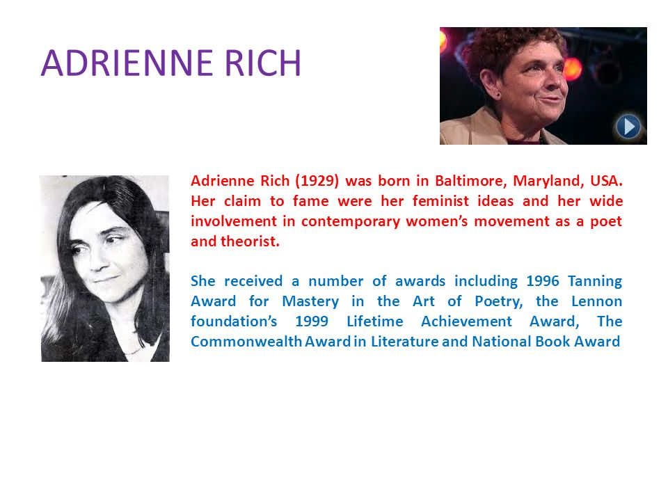 the theme of the gender struggle in a conservative southern family in adrienne richs poem aunt jenni Discover adrienne rich quotes about patriarchy share with friends create amazing picture quotes from adrienne rich quotations.