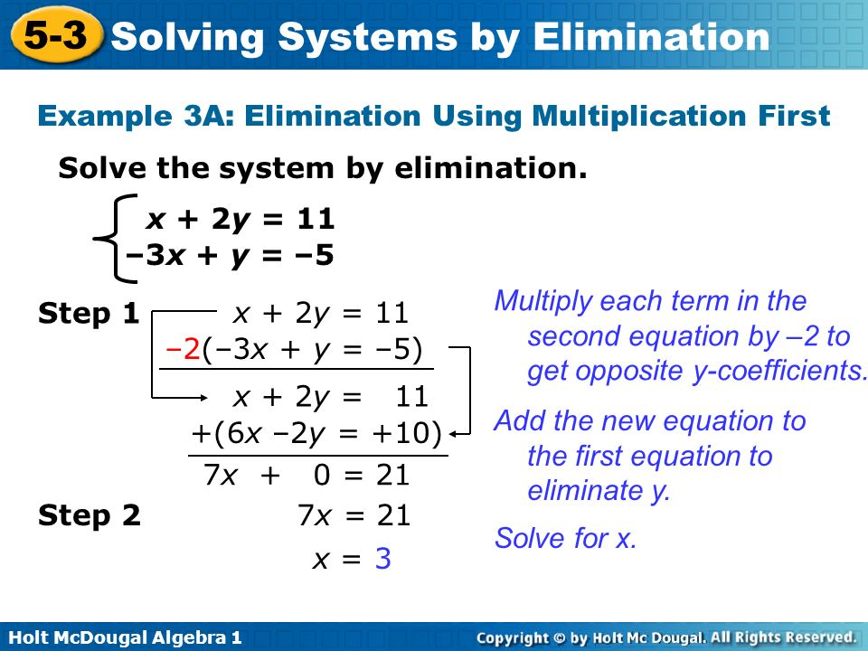 Holt McDougal Algebra Solving Systems by Elimination Solve systems ...