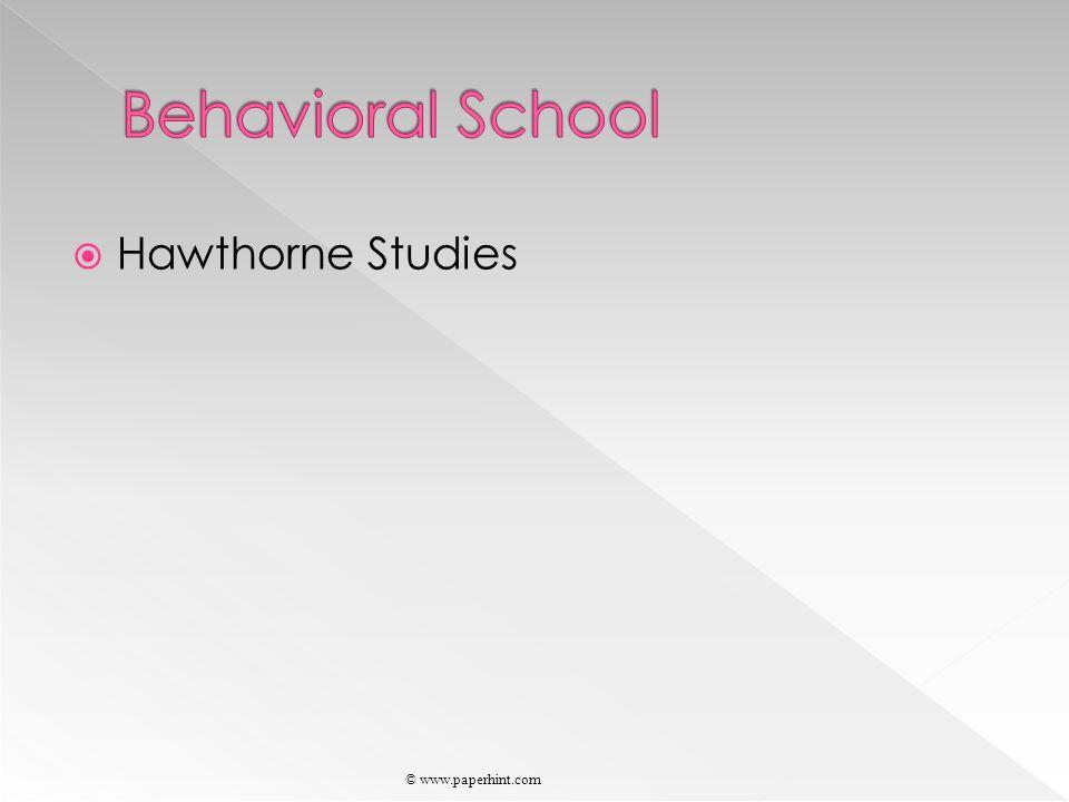  Hawthorne Studies © www.paperhint.com