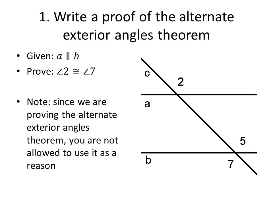 Write A Proof Of The Alternate Exterior Angles Theorem
