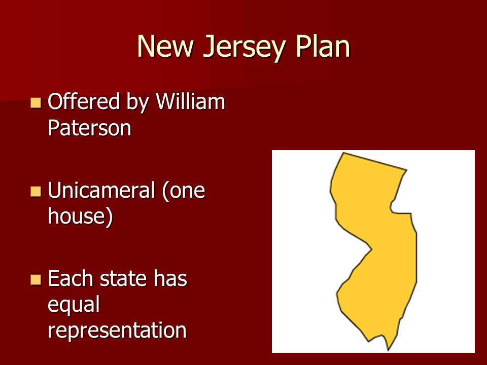 New Jersey Plan Offered by William Paterson Offered by William Paterson Unicameral (one house) Unicameral (one house) Each state has equal representation Each state has equal representation