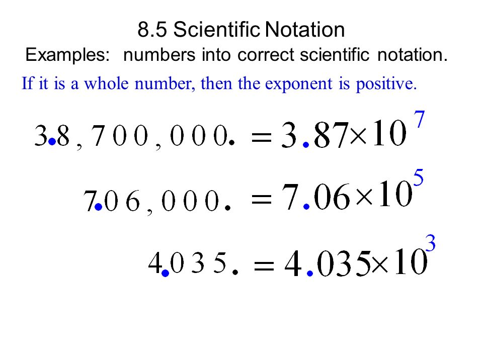 Multiplication of whole numbers by powers of ten. Great exponent ...