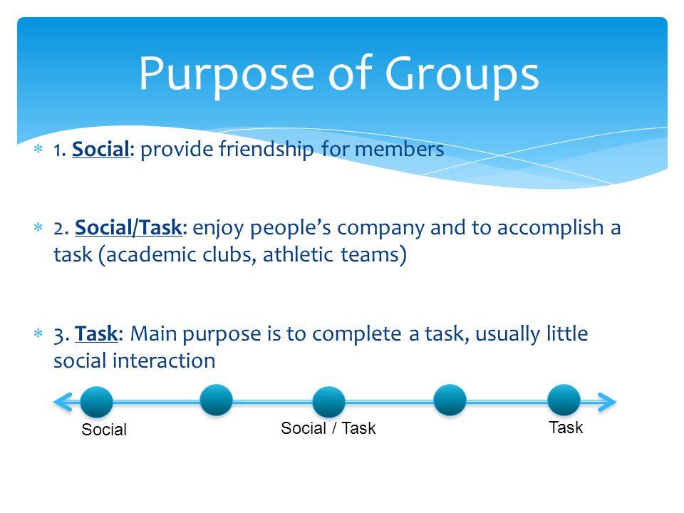  1. Social: provide friendship for members  2.