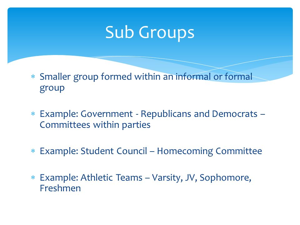  Smaller group formed within an informal or formal group  Example: Government - Republicans and Democrats – Committees within parties  Example: Student Council – Homecoming Committee  Example: Athletic Teams – Varsity, JV, Sophomore, Freshmen Sub Groups